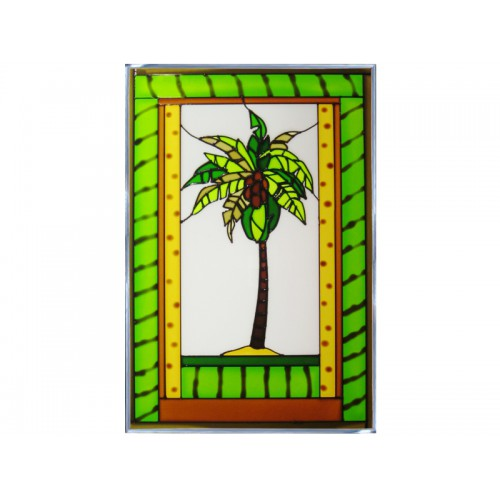 Art Glass Panel-Tropical-Palm Tree-Beach Life-Made in USA