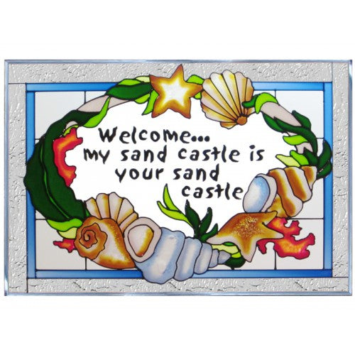 Art Glass Panel-Seashells-Beach Life-Made in USA