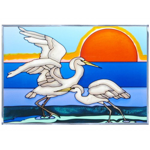 Art Glass Panel-Shorebird-Snowy Egret-Nautical-Made in USA
