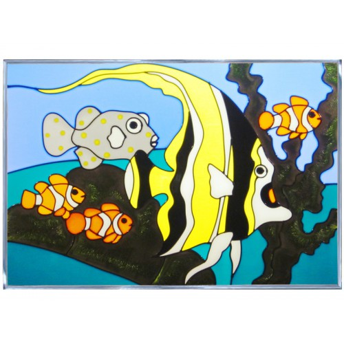 Art Glass Panel-Tropical Fish-Nautical-Beach Life-Made in USA