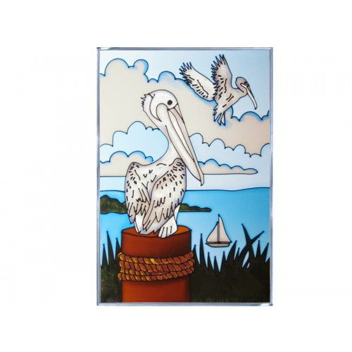Art Glass Panel-Shorebird Pelican-Nautical-Made in ISA