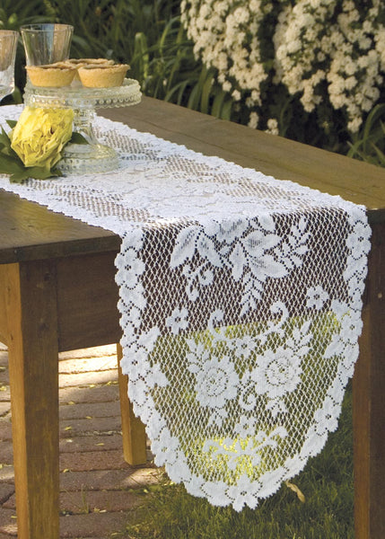 Table Linen-Runner-Dresser Scarf-Set of 2-Heritage Lace-Victorian Rose