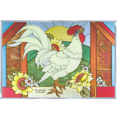 Art Glass Panel-Christian-Rooster-Country Life-Made in USA