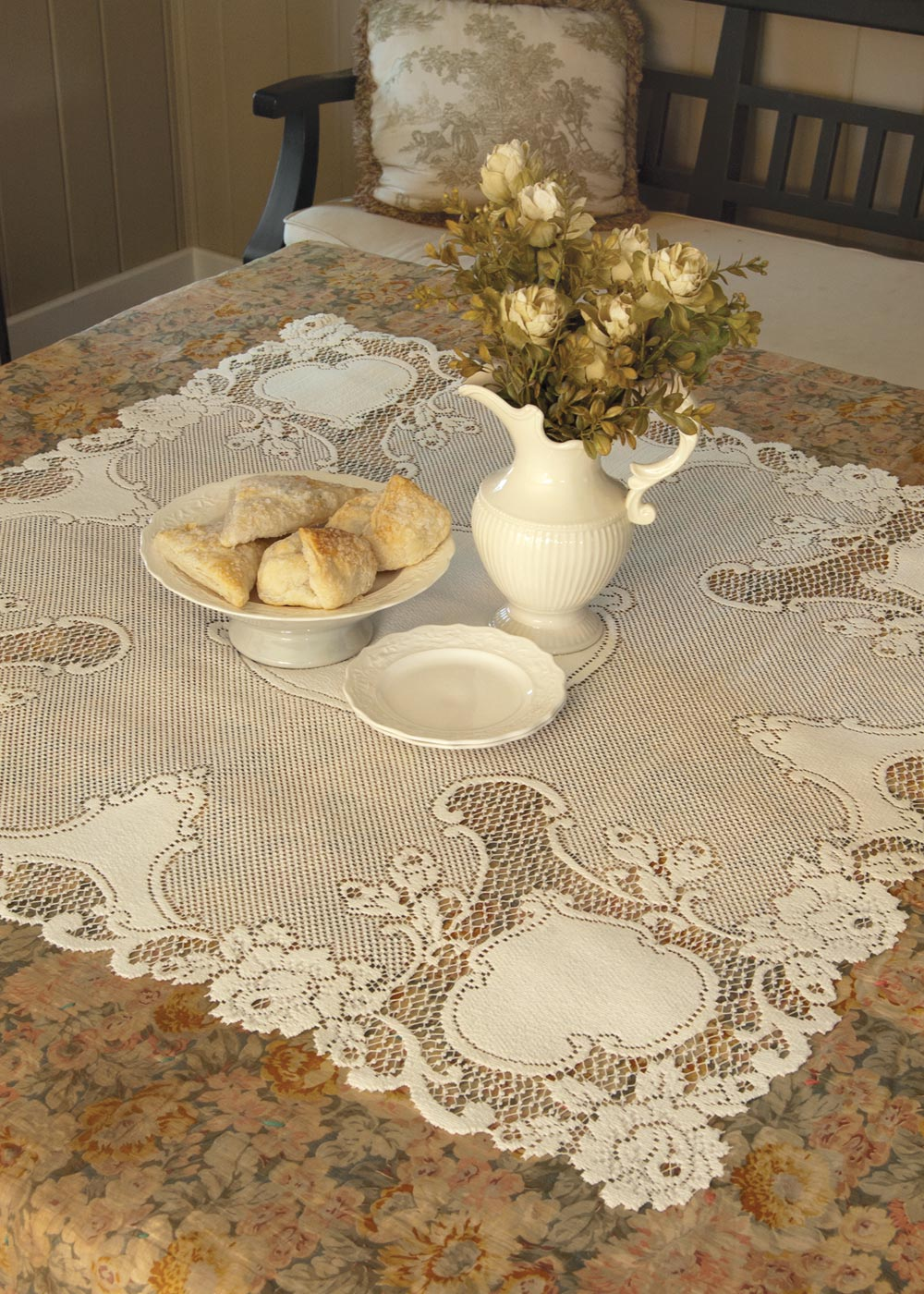 Table Linen-Table Topper-36x36-Ecru-Heritage Lace-Vintage Rose