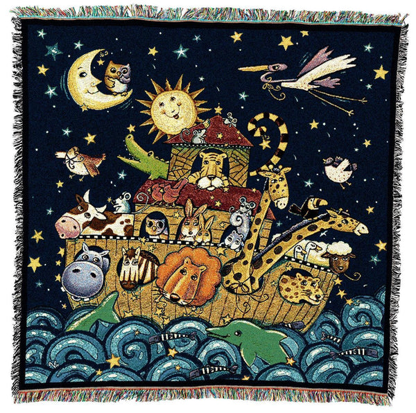 Throw Blanket-53 x 53-Woven-Babies-Children-Noah's Ark at Sea