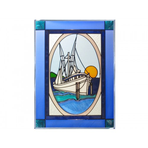 Art Glass Panels-Fishing Boat-Nautical-Silver Creek