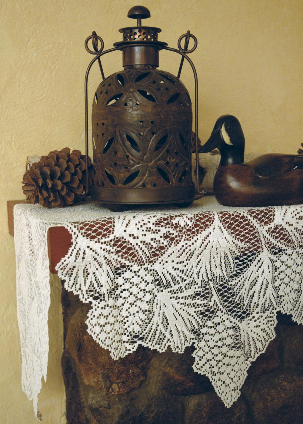 Table Linen-Mantle Scarf-Rustic-Woodland-Heritage Lace