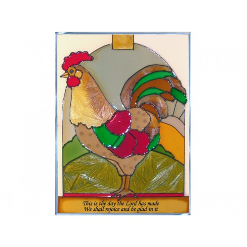 Art Glass Panel-Christian-Country Life-Rooster-Made in USA
