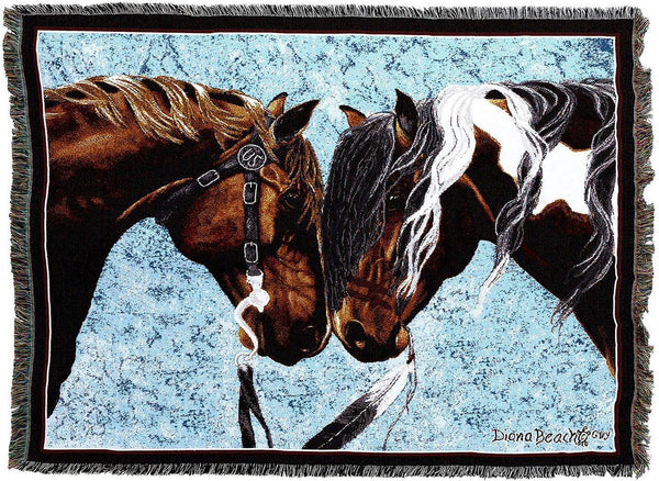 Throw Blanket-54 x 72-Animal Lover-Warriors Truce-Horse
