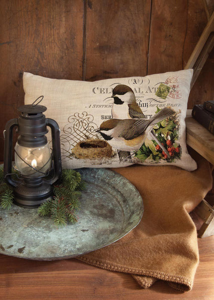 Winter Garden-Pillow-Chicadee-Heritage Lace