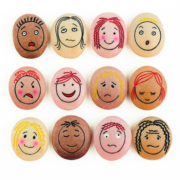 Special Needs-Early Learning-Set of 12-Emotion Stones-Expressive Faces