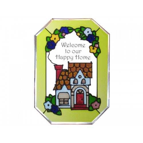 Art Glass Panel-Happy Home-Made in USA