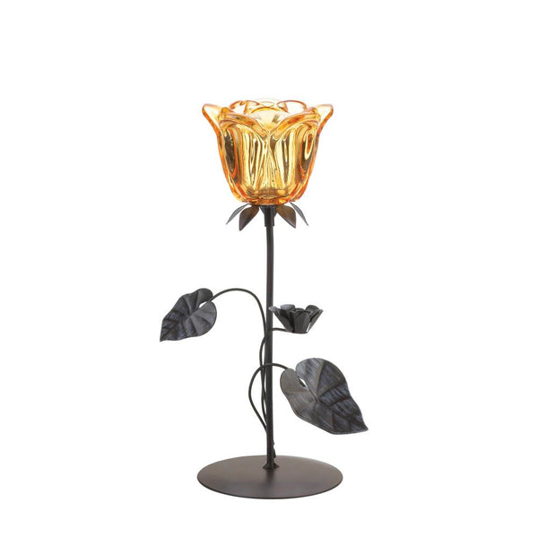 Candleholder-Amber Flower-Cozy Home