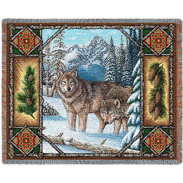 Throw Blanket-54 x 70-Matching-Throw Pillow-Rustic-Wolf-Lodge