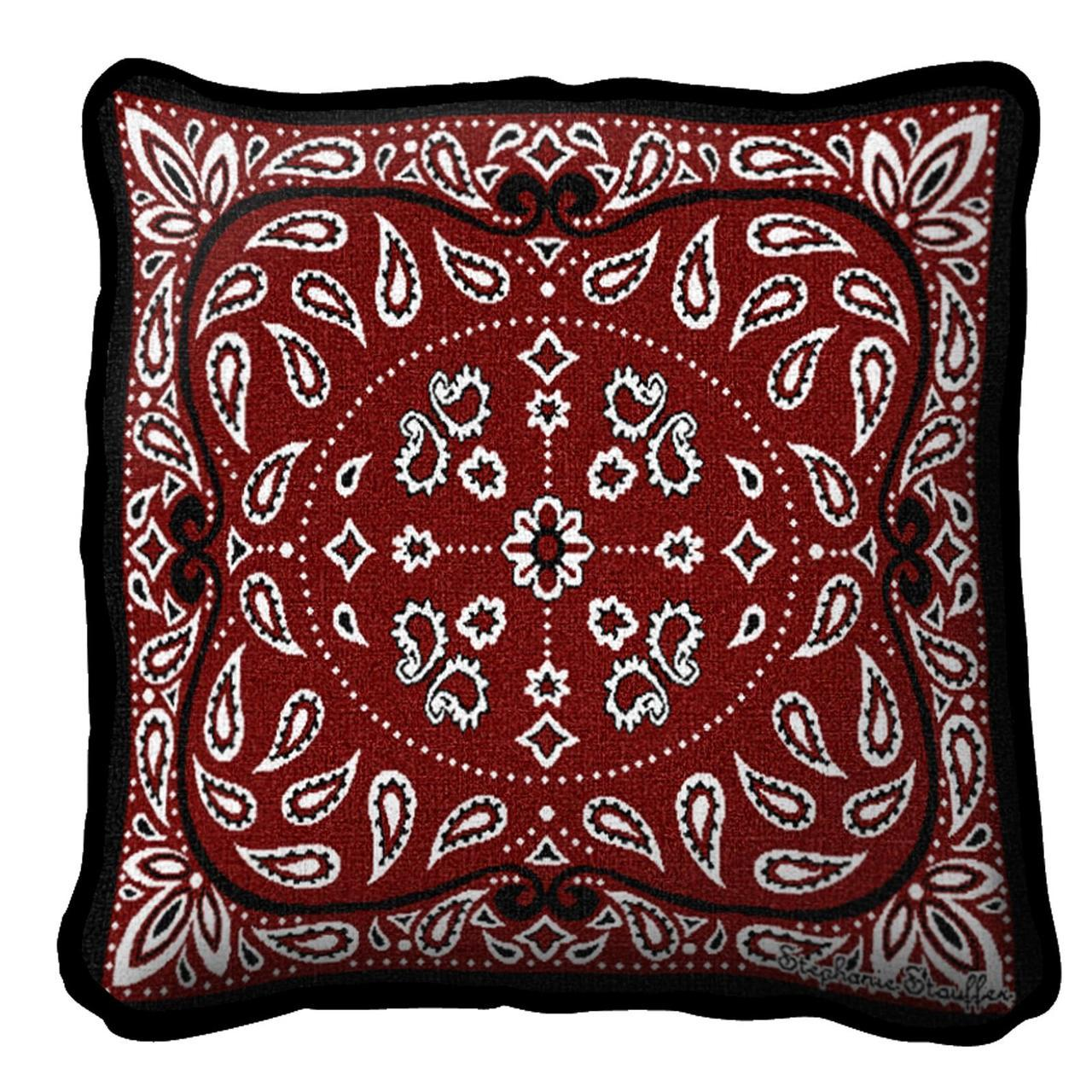 Throw Pillow-17 x 17-Americana-Red Bandana