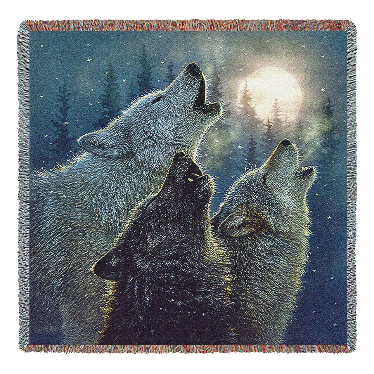 Throw Blanket-54 x 72-Rustic-Howling Wolves