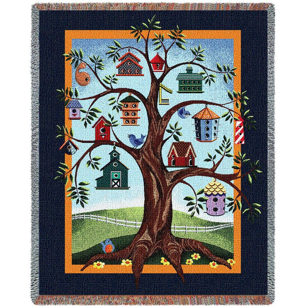 Throw Blanket-54 x 70-Nature-Cozy Home-Birdhouse Tree