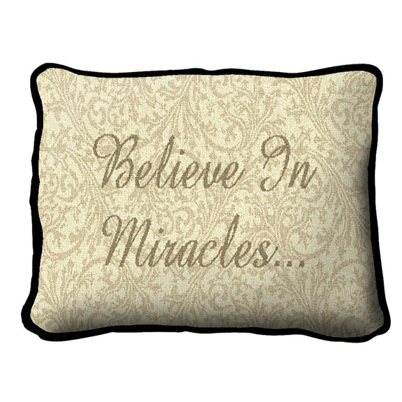 Throw Pillow-12 x 8-Positive Thoughts-Believe in Miracles