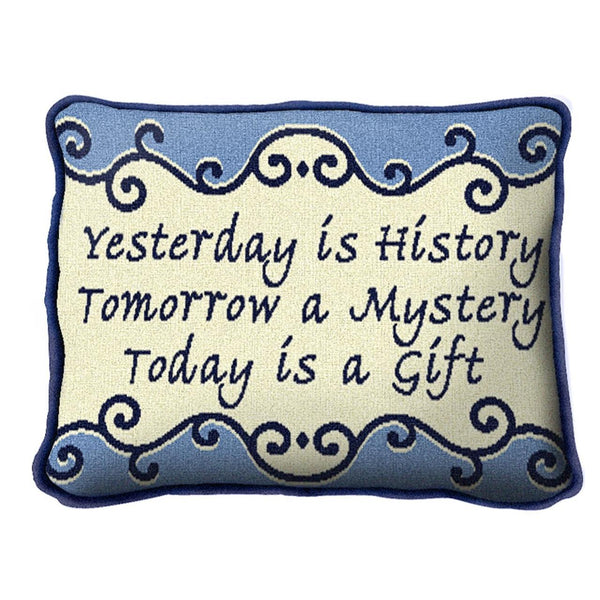 Throw Pillow-12 x 8-Positive Thoughts-Yesterday is History