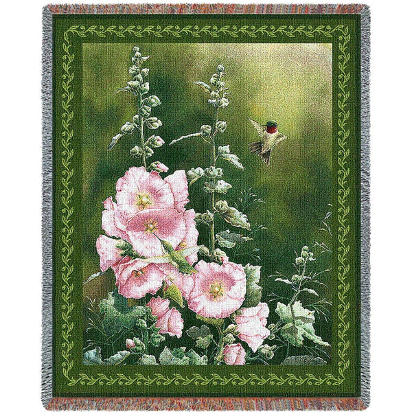 Throw Blanket-54 x 70-Flowers-Cozy Home-Hollyhock Hummer