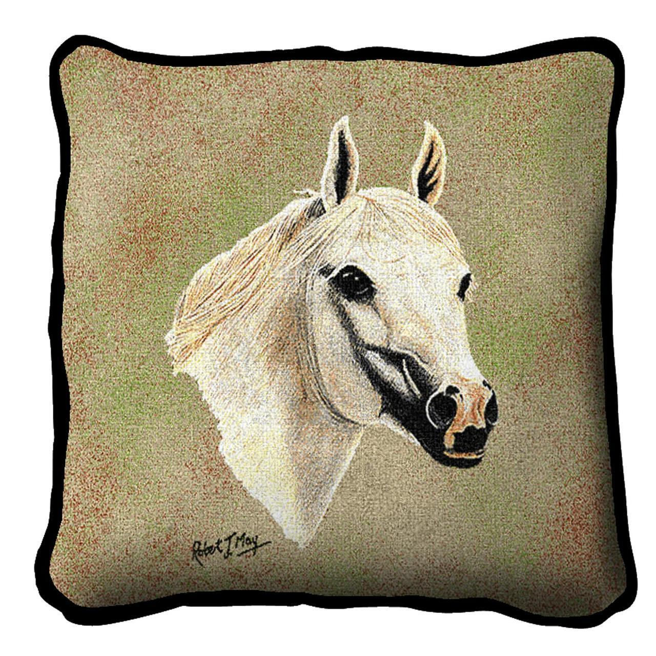 Throw Pillow-17 x 17-Animal Lover-White-Arabian Horse