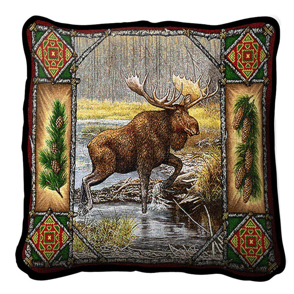 Throw Pillow-17 x 17-Rustic-Moose Lodge