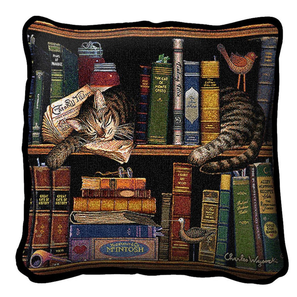 Throw Pillow-17 x 17-Animal Lover-Max in The Stacks-Cat