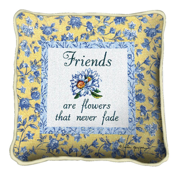 Throw Pillow-17 x 17-Friends-Family-Flowers