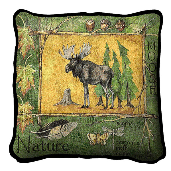 Throw Pillow-17 x 17-Rustic-Nature-Moose