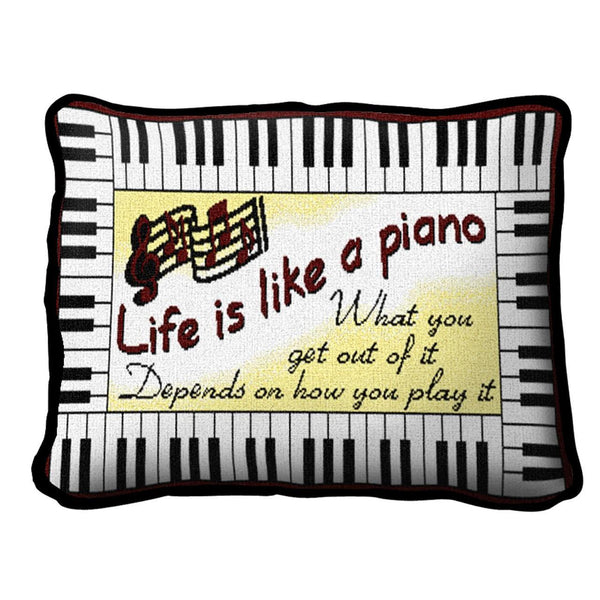 Throw Pillow-12 x 8-Positive Thoughts-Life is Lake a Piano