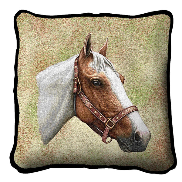 Throw Pillow-17 x 17-Animal Lover-Pinto-Horse