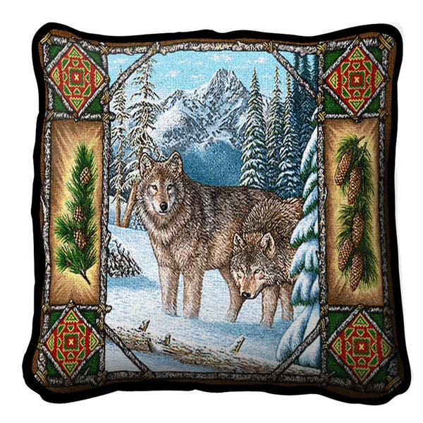 Throw Pillow-17 x 17-Rustic-Wolf Lodge