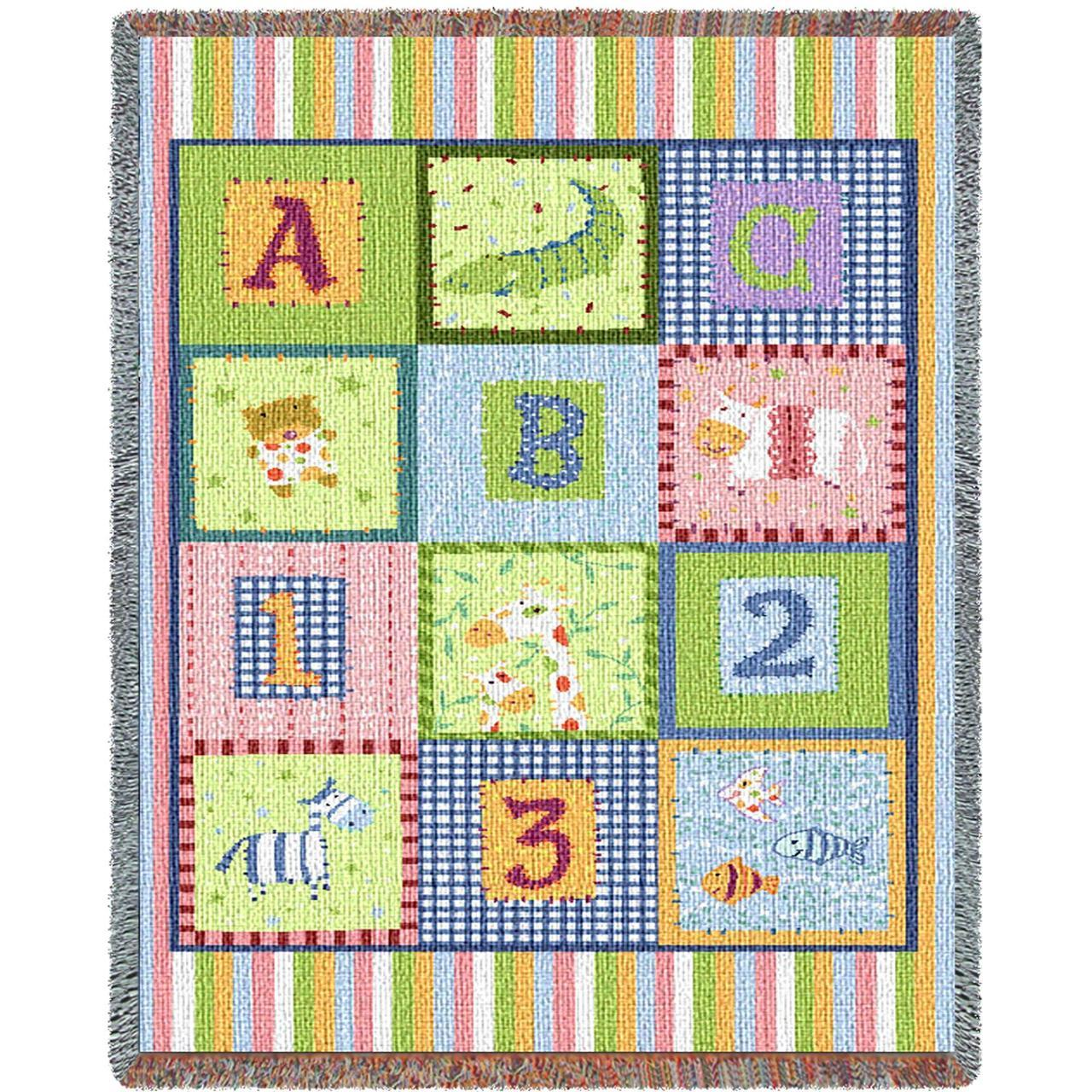 Throw Blanket-34 x 53-Woven Tapestry-Babies-Children-ABC-123