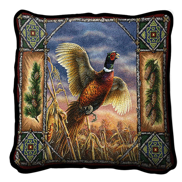 Throw Pillow-17 x 17-Rustic-Pheasant Lodge
