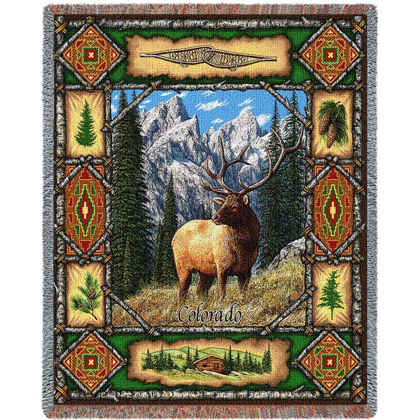 Throw Blanket-53 x 70-Matching-Throw Pillow-Rustic-Elk Lodge