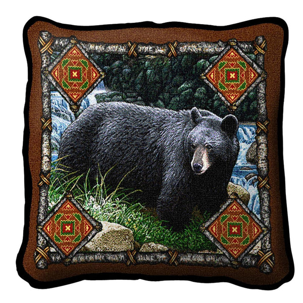 Throw Pillow-Bear Lodge-The Rustic Look
