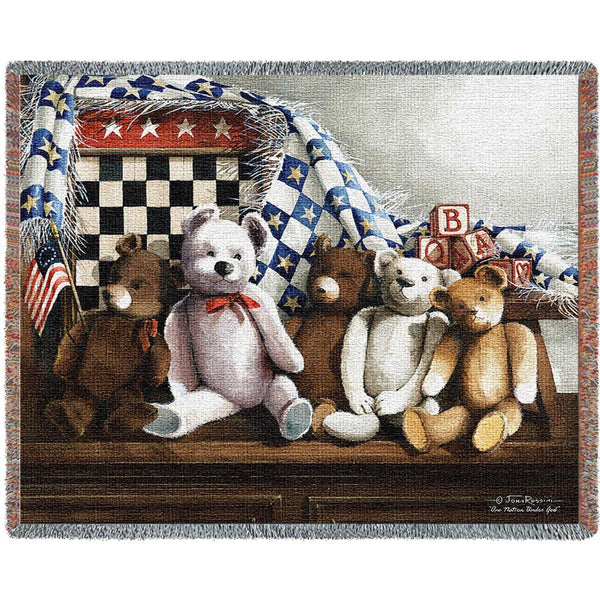 Throw Blanket-72 x 54-Woven-Babies-Children-One Nation Under God