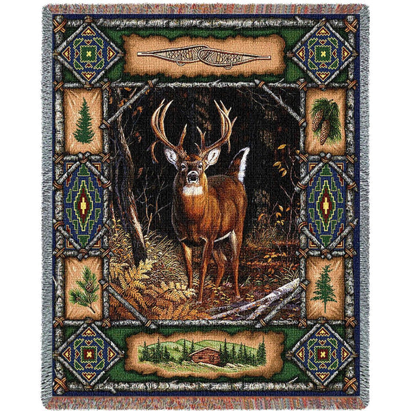 Throw Blanket-53 x 70-Matching-Throw Pillow-Rustic-Deer Lodge