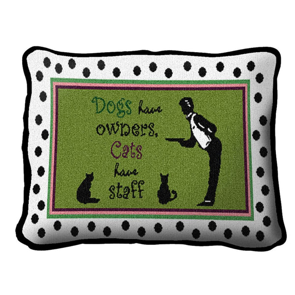 Throw Pillow-12 x 8-Animal Lover-Whimsical-Cats Have Staff