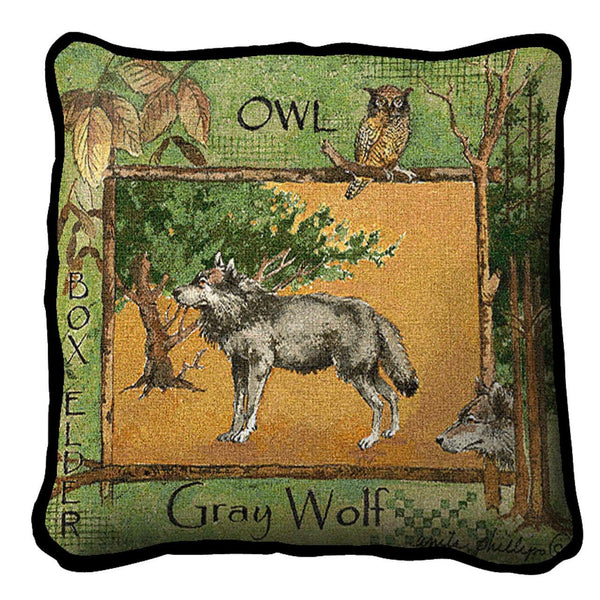 Throw Pillow-Gray Wolf-The Rustic Look