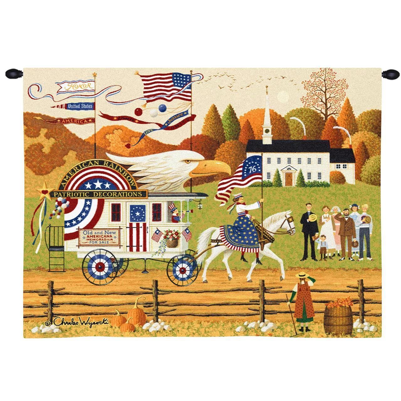 Tapestry-Wall Hanging-26 x 34-Patriotic-Americana-So Proudly We Hail