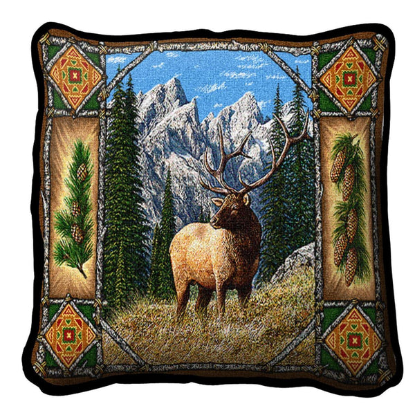 Throw Pillow-17 x 17-Rustic-Elk Lodge
