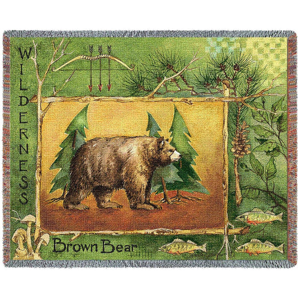 Throw Blanket-72 x 54-Matching-Throw Pillow-Rustic-Brown Bear