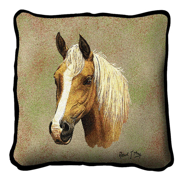 Throw Pillow-17 x 17-Animal Lover-Palomino Horse