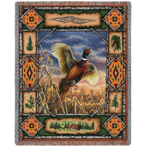 Throw Blanket-53 x 70-Matching-Throw Pillow-Rustic-Pheasant-Lodge