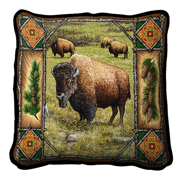 Throw Pillow-17 x 17-Rustic-Buffalo Lodge