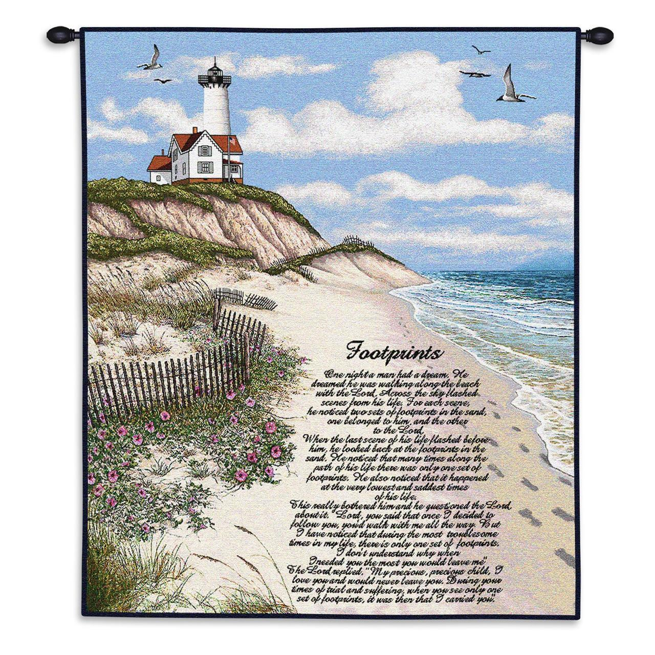 Christian Decor-Choice-Tapestry-Wall Hanging-Throw-Footprints in the Sand