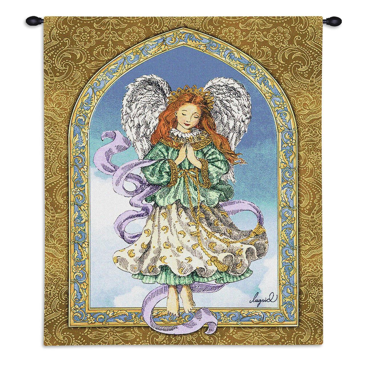 Christian Decor-Choice-Tapestry-Wall Hanging-Throw-Angel in Prayer