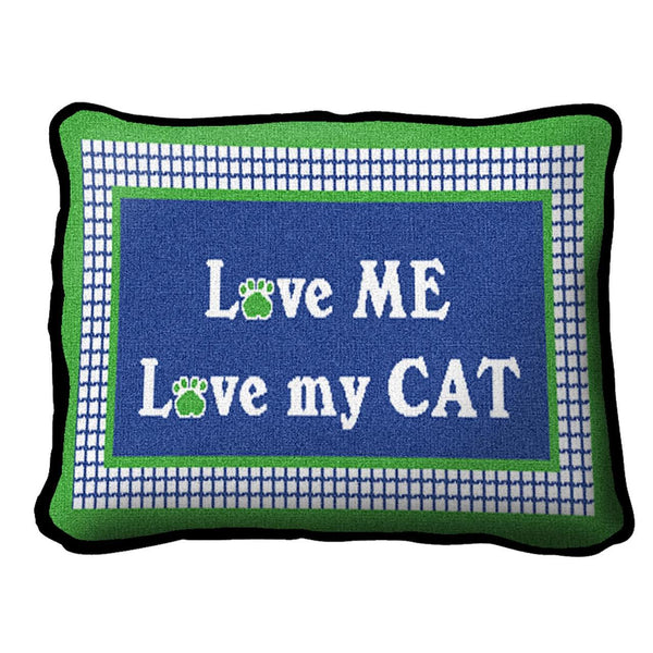 Throw Pillow-12 x 8-Animal Lover-Love My Cat
