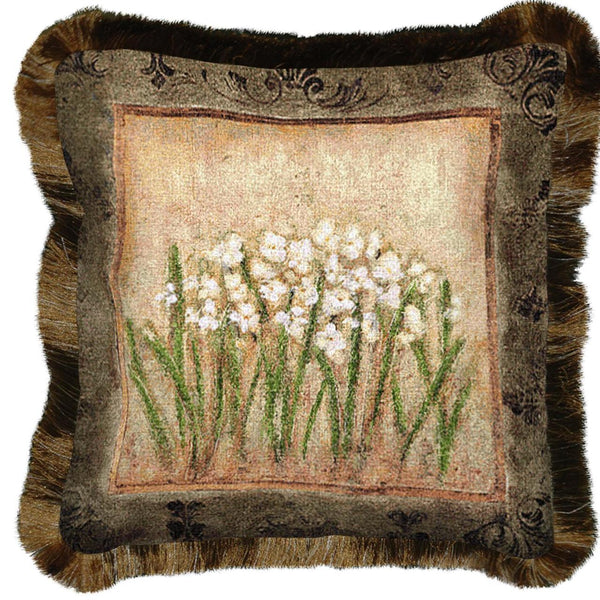 Throw Pillow-17 x 17-The Cozy Home-Narcissus Flowers